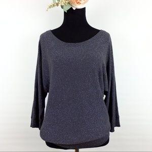 LOFT Ann Taylor silver shimmery sparkle sweater S